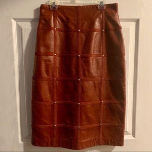 Rare ESCADA Vintage 100% Leather Skirt, Sz 38